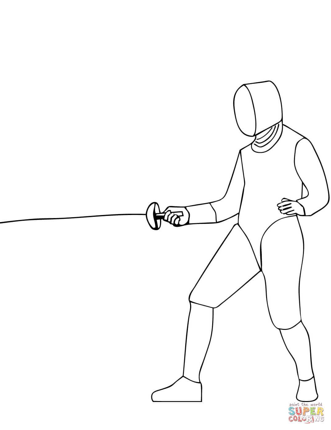 Coloriage - Escrime À L'Épée | Coloriages À Imprimer Gratuits avec Coloriage Épée