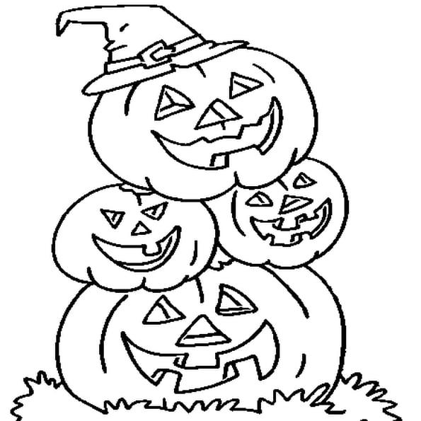 Coloriage Famille Citrouille D'Halloween En Ligne Gratuit pour Dessin Citrouille A Imprimer