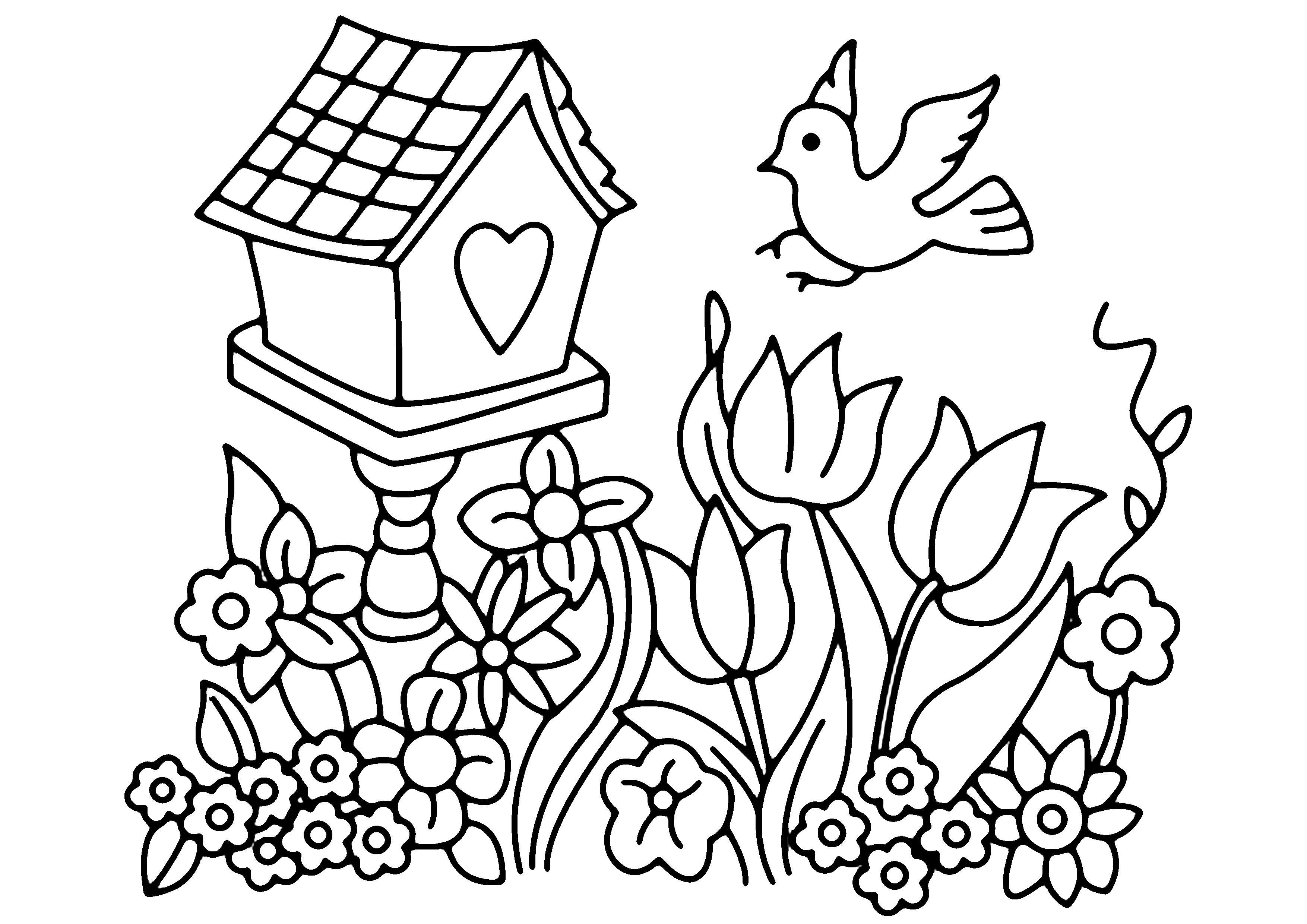 Coloriage - Fleurs, Fruits Et Légumes : Fleurs Et Oiseau dedans Coloriage Fleur