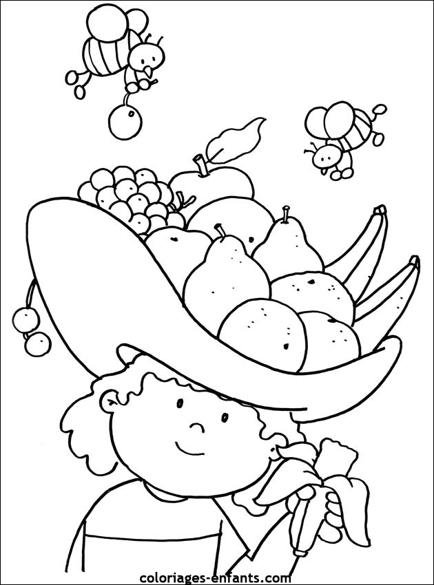 Coloriage Fruit Et Abeilles Dessin Gratuit À Imprimer tout Coloriage Fruits Et Legumes