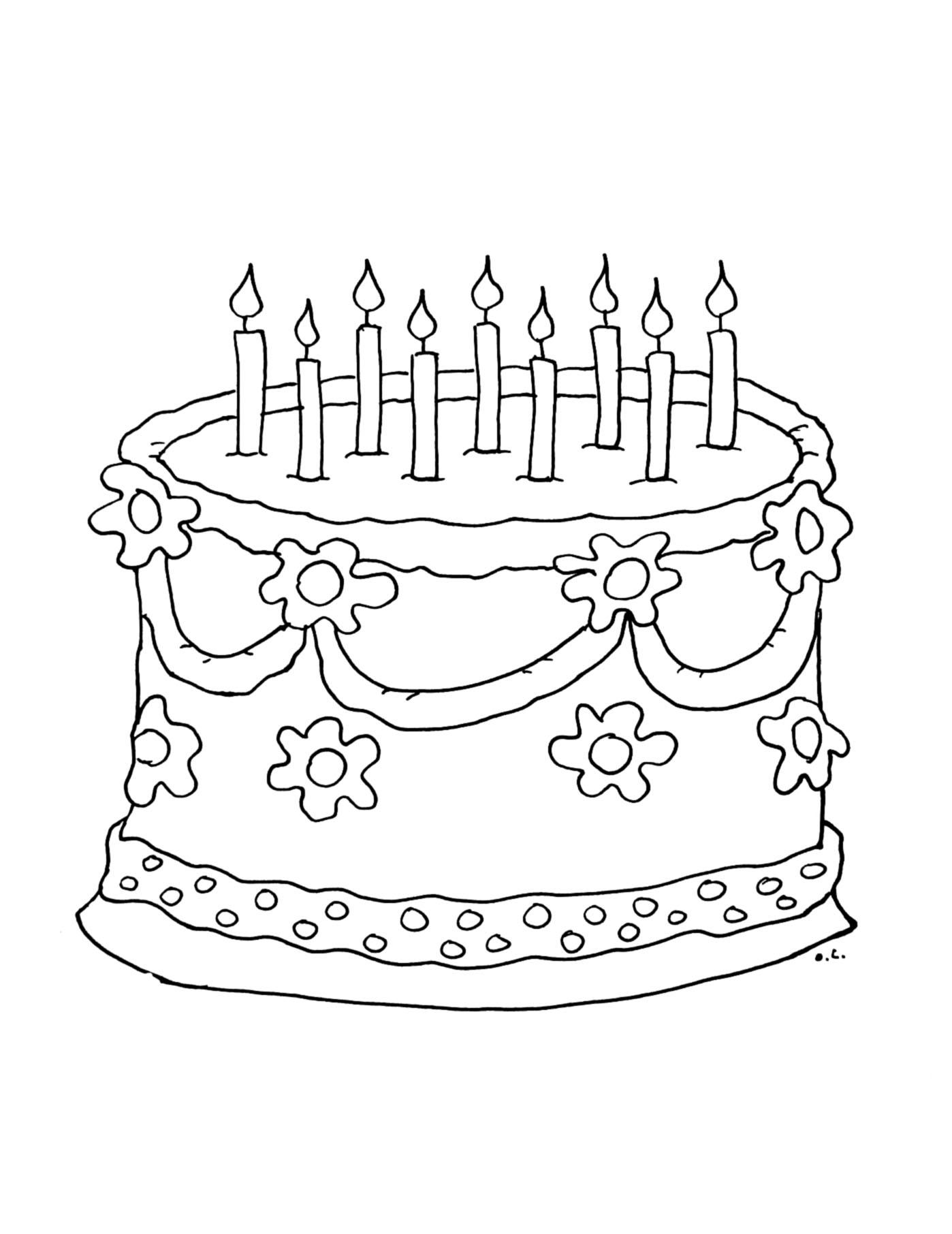 Coloriage Gâteau Avec Des Bougies À Imprimer tout Dessin Gateaux