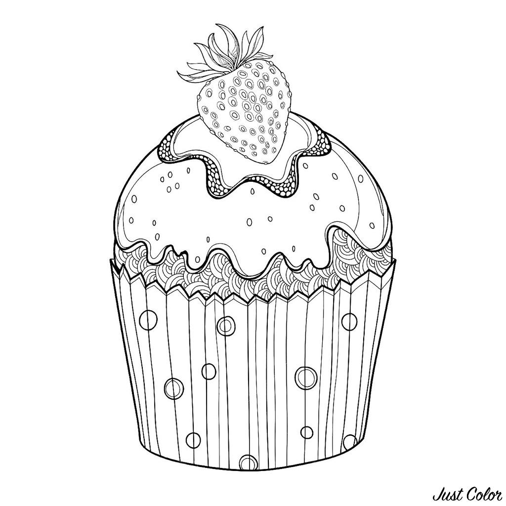 Coloriage Gateau Cupcake pour Coloriage Cupcake A Imprimer