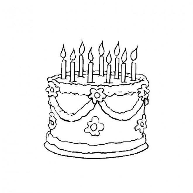Coloriage Gâteau D'Anniversaire En Couleur Dessin Gratuit destiné Dessin De Gateau Anniversaire