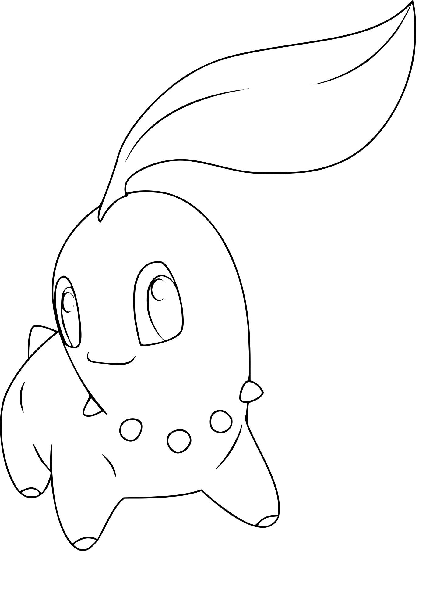 Coloriage Germignon Chikorita Pokemon À Imprimer avec Desin A Colorier