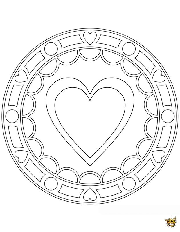 Coloriage Gros Coeur Mandala Sur Ludinet.fr tout Coloriage Coeur À Imprimer Gratuit