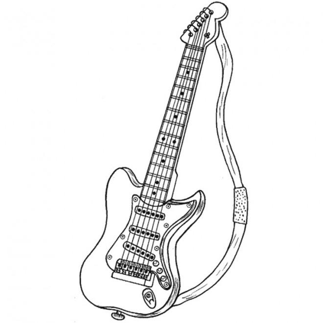 Coloriage Guitare Rock Dessin Gratuit À Imprimer serapportantà Coloriage Guitare