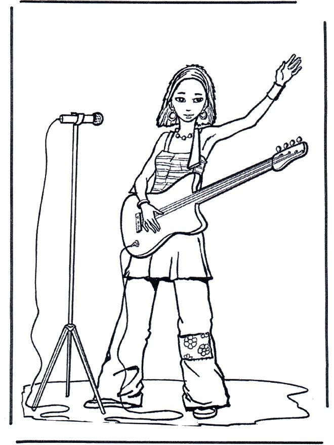 Coloriage Guitariste Chanteuse Dessin Gratuit À Imprimer intérieur Coloriage Chanteuse