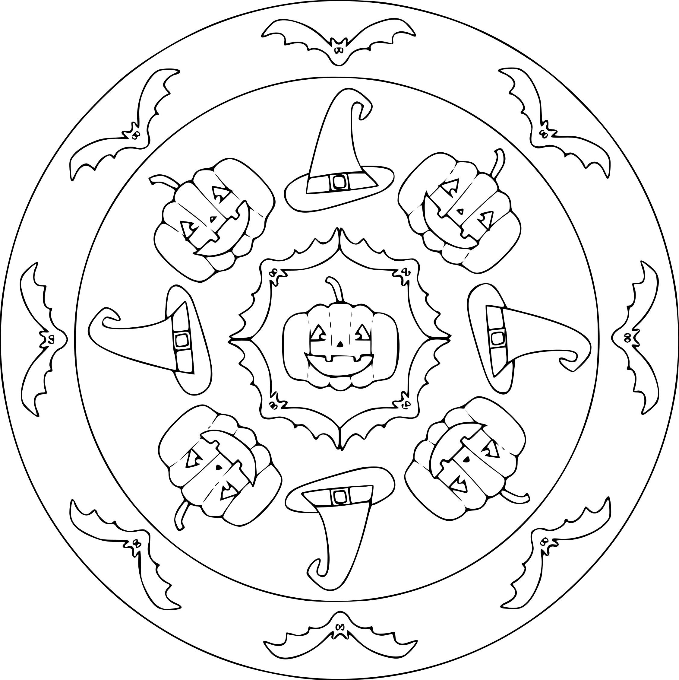 Coloriage Halloween Mandala À Imprimer Sur Coloriages dedans Coloriage Halloween À Imprimer Gratuit
