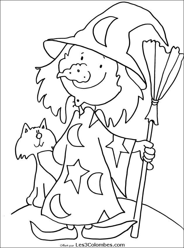 Coloriage Halloween Sorcière Drôle Dessin Gratuit À Imprimer tout Telecharger Des Coloriage