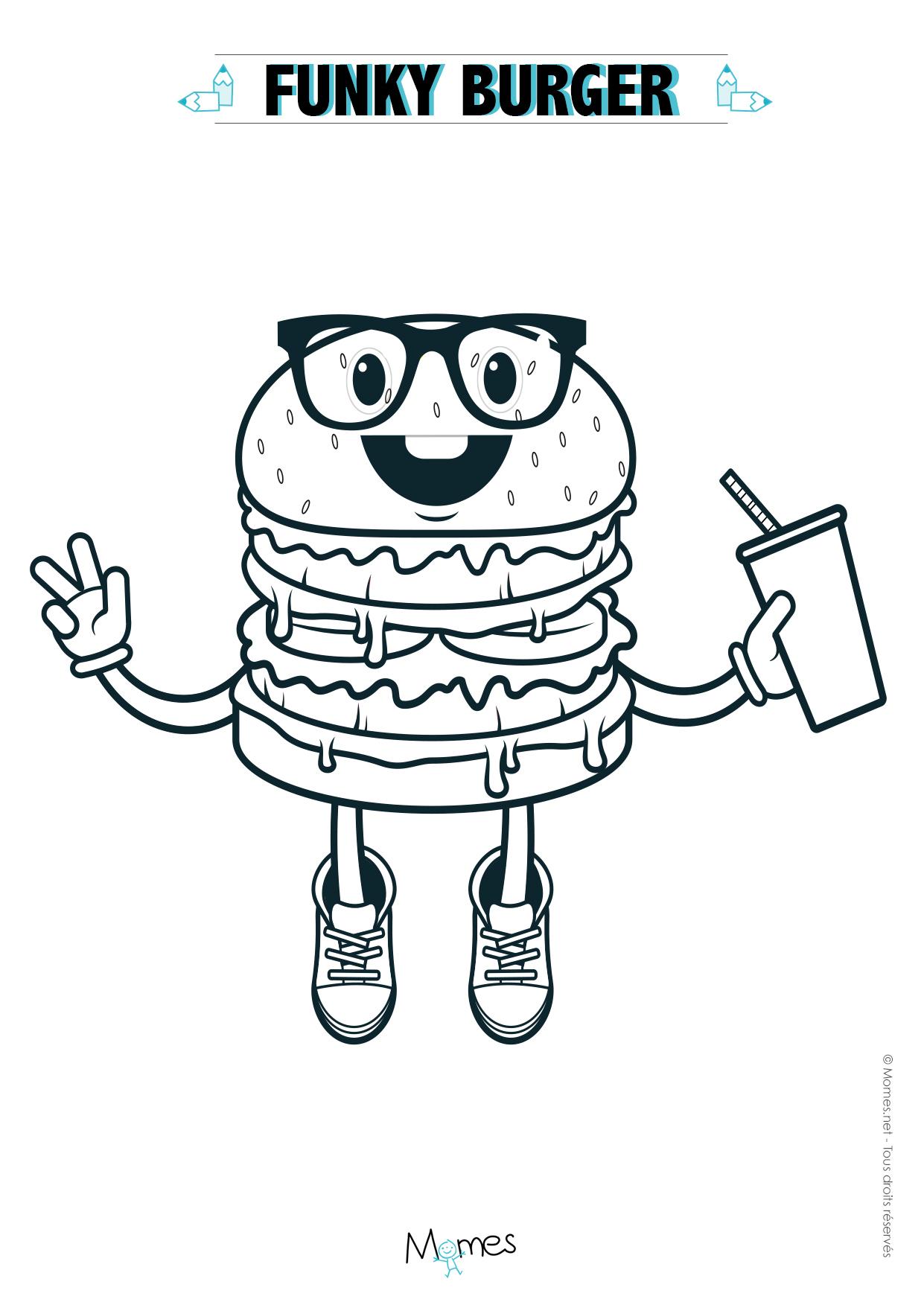 Coloriage Hamburger À Imprimer - Momes dedans Dessin Gommette A Imprimer