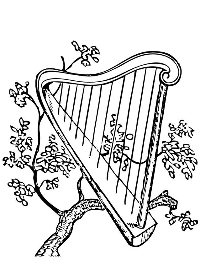 Coloriage Harpe À Imprimer Gratuitement à Coloriage Instrument De Musique