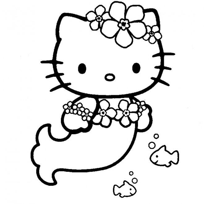 Coloriage Hello Kitty Sirène En Ligne Dessin Gratuit À intérieur Dessin Hello Kitty À Imprimer