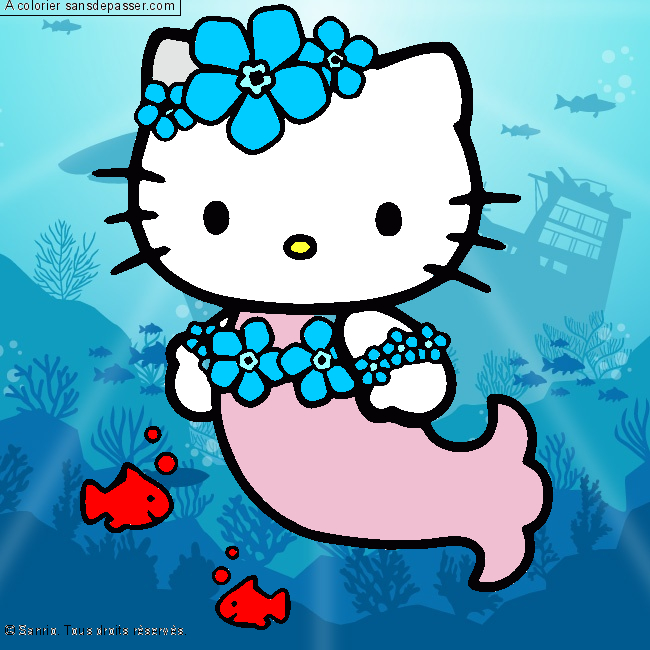 Coloriage Hello Kitty Sirène - Sans Dépasser intérieur Coloriage À Imprimer Hello Kitty Sirène