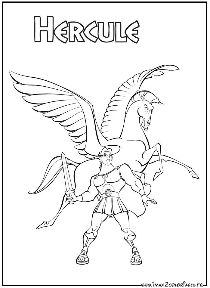 Coloriage Hercule De Walt Disney,Hercule Et Pégase Son pour Dessin Pegase