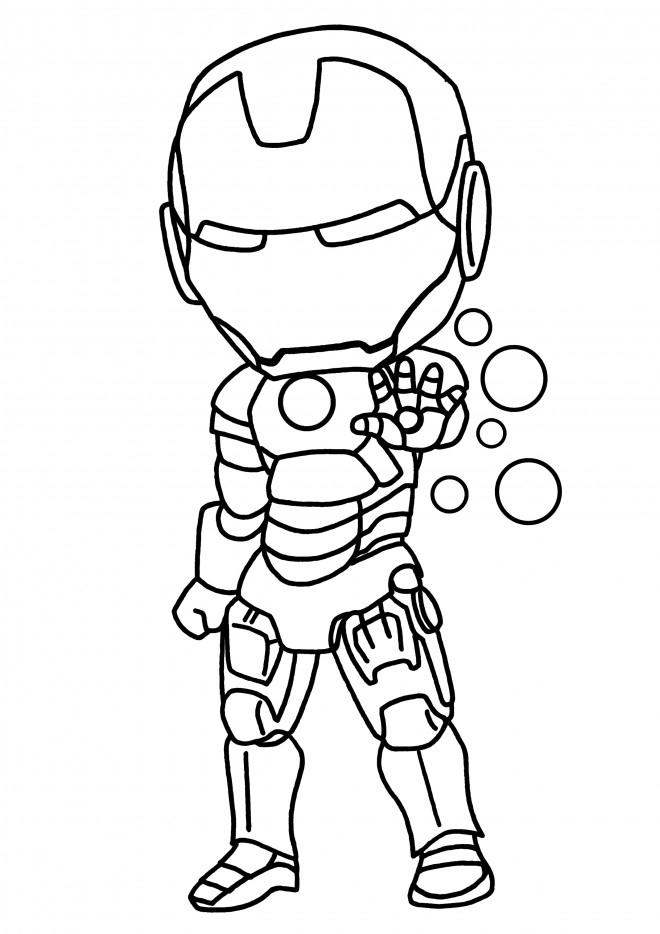 Coloriage Héro Iron Man En Miniature Dessin Gratuit À Imprimer intérieur Dessin A Colorier Gratuit Iron Man