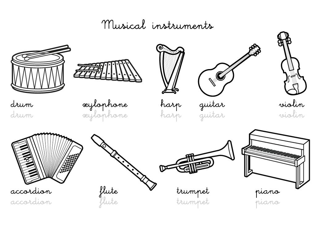 Coloriage-Imagier En Anglais : Musical Instruments Vocabulary à Coloriage Instrument De Musique