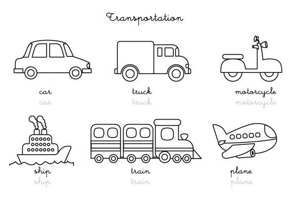 Coloriage-Imagier En Anglais : Transportation Vocabulary à Coloriage Anglais