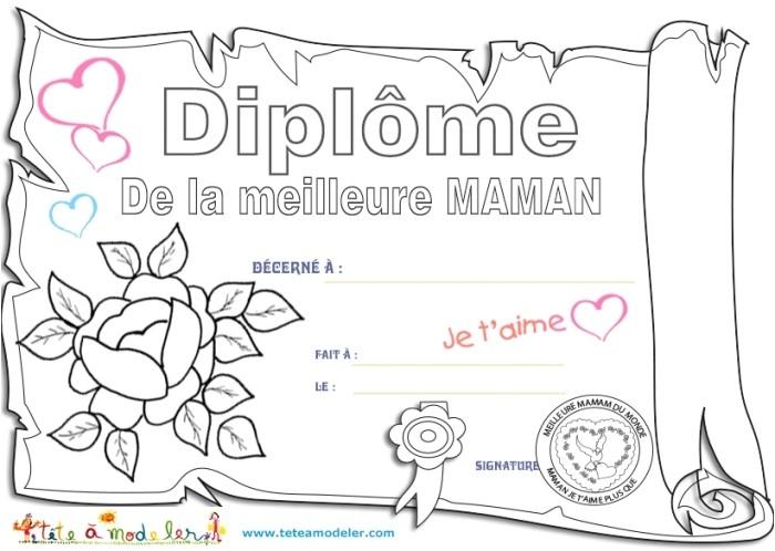 Coloriage Joyeux Anniversaire Maman Diplome Maman Pour Le encequiconcerne Dessin Pour Les Maman