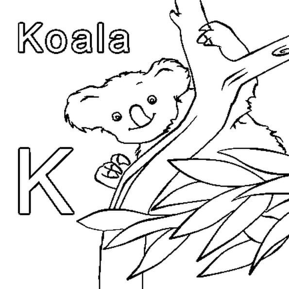 Coloriage K Comme Koala En Ligne Gratuit À Imprimer destiné Coloriage De Koala