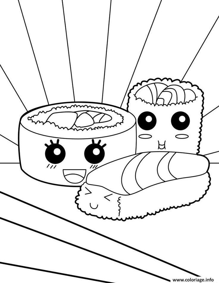 Coloriage Kawaii Food Sushi À Imprimer | Coloriage Kawaii encequiconcerne Coloriage Animaux Kawaii A Imprimer Gratuit