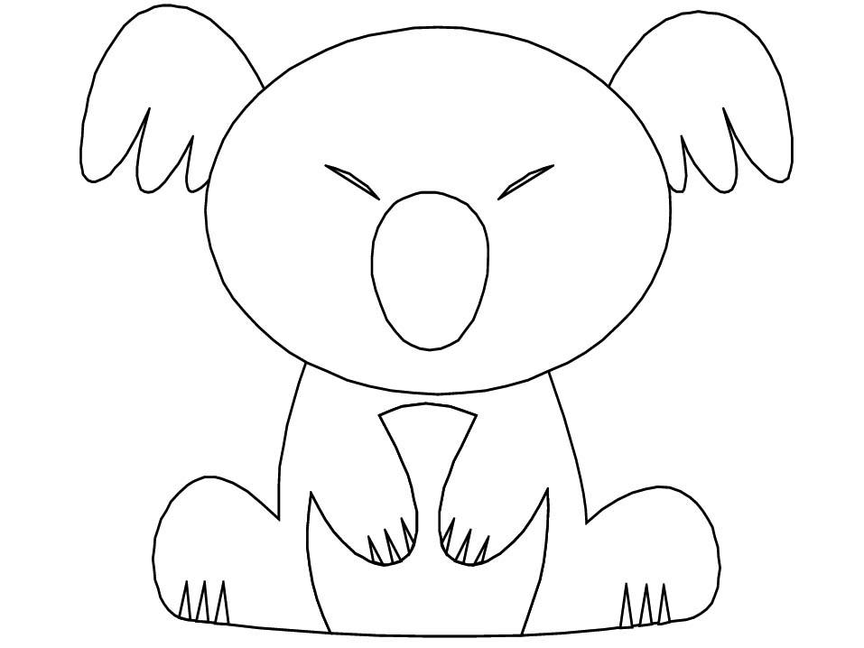 Coloriage Koala Qui Dort Assis à Coloriage De Koala