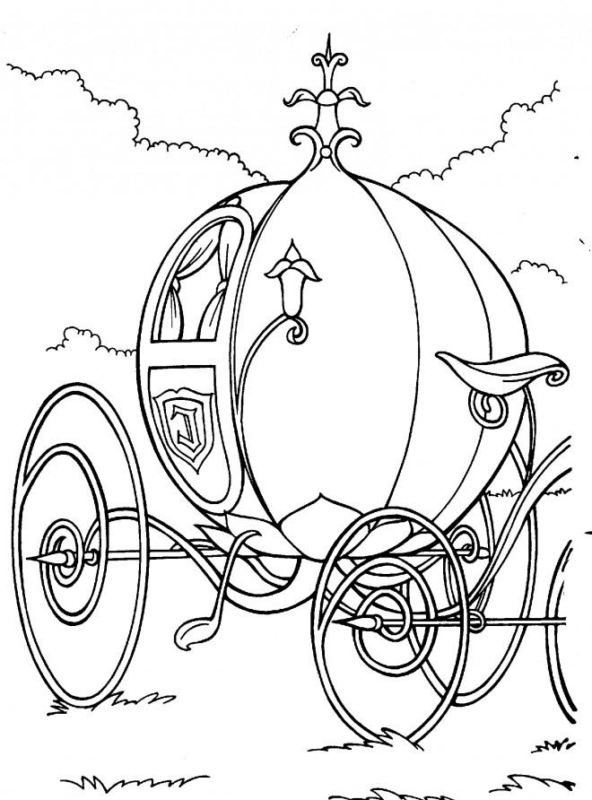 Coloriage La Carrosse De Cendrillon Dessin Gratuit À Imprimer destiné Dessin Carrosse