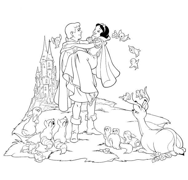 Coloriage La Joie De Princesse Blanche Neige Avec Le Prince tout Coloriage Blanche Neige A Imprimer Gratuit