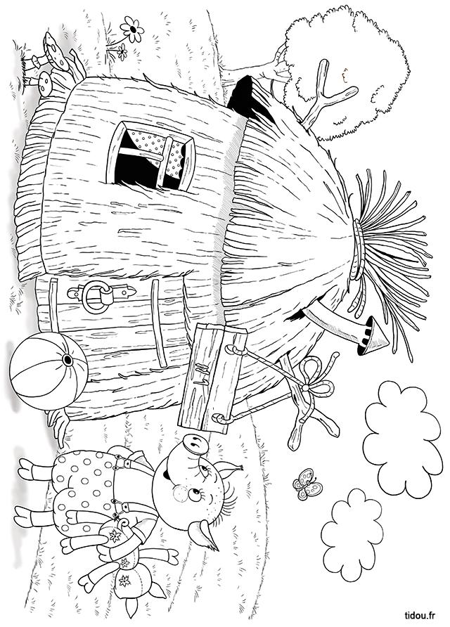Coloriage, La Maison De Paille Des Trois Petits Cochons destiné Dessin De Petite Maison