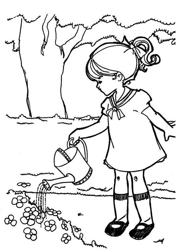 Coloriage La Petite Fille Et L'Arrosoir - Momes avec Coloriage Fille À Imprimer Gratuit