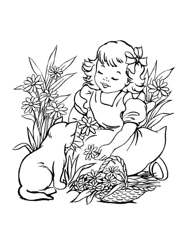 Coloriage La Petite Fille Et Le Chaton - Chats serapportantà Dessin De Petit Chat