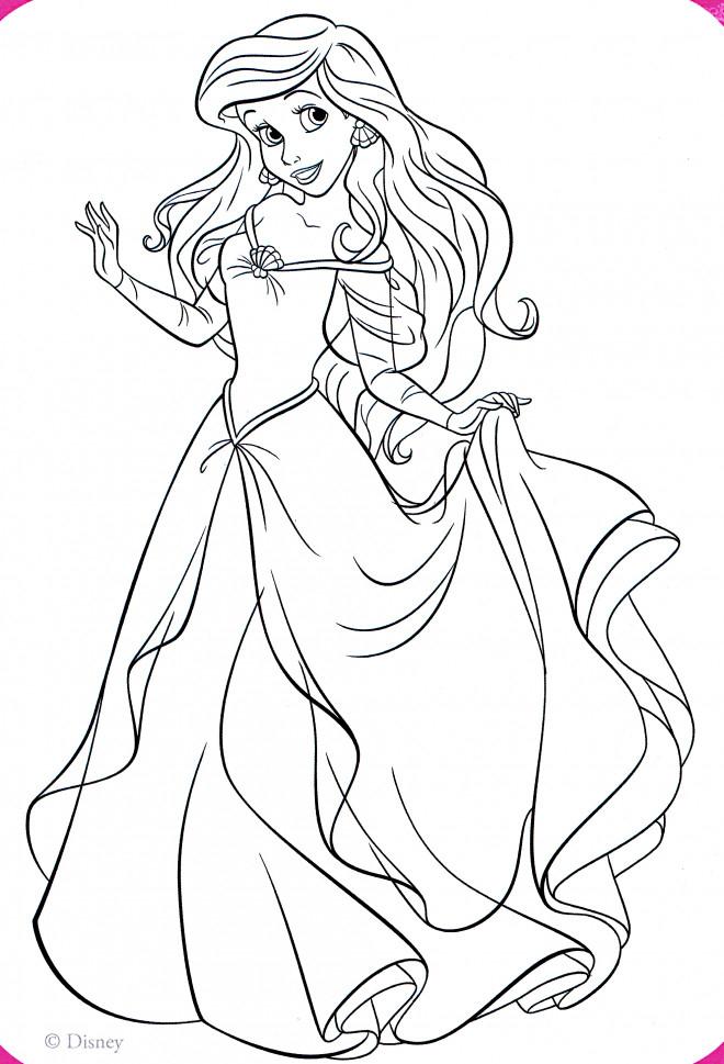 Coloriage La Princesse Ariel Élégante destiné Dessin De Princesse À Colorier