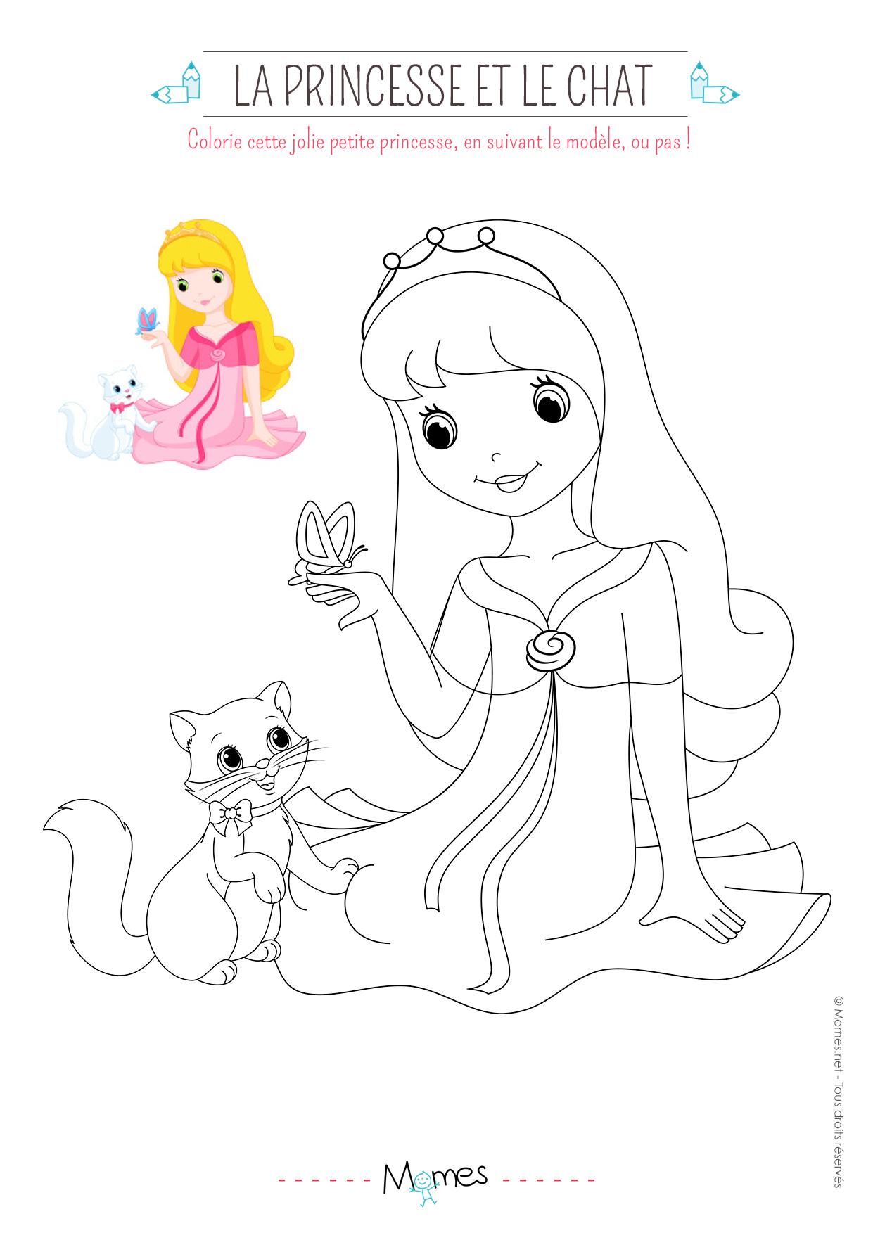 Coloriage La Princesse Et Le Petit Chat (Avec Modèle concernant Modèle De Coloriage À Imprimer
