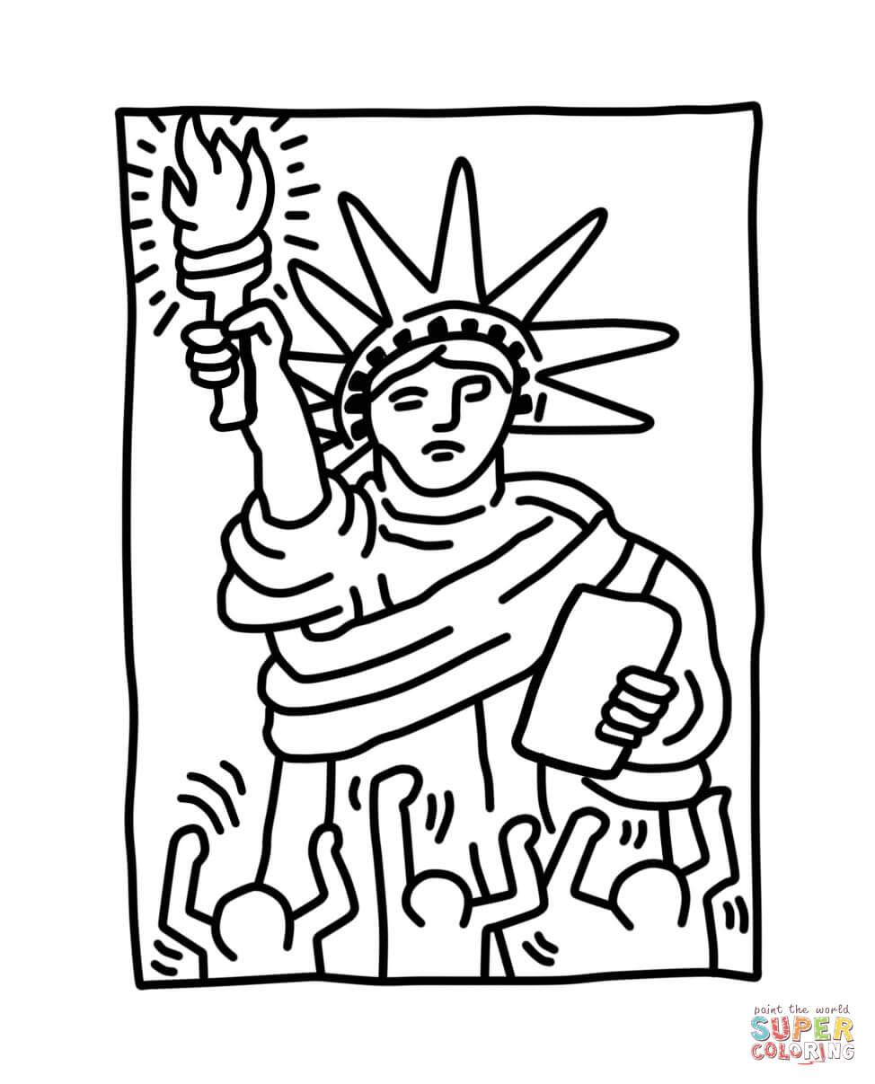 Coloriage - La Statue De La Liberté Par Keith Haring à Statue De La Liberté Dessin