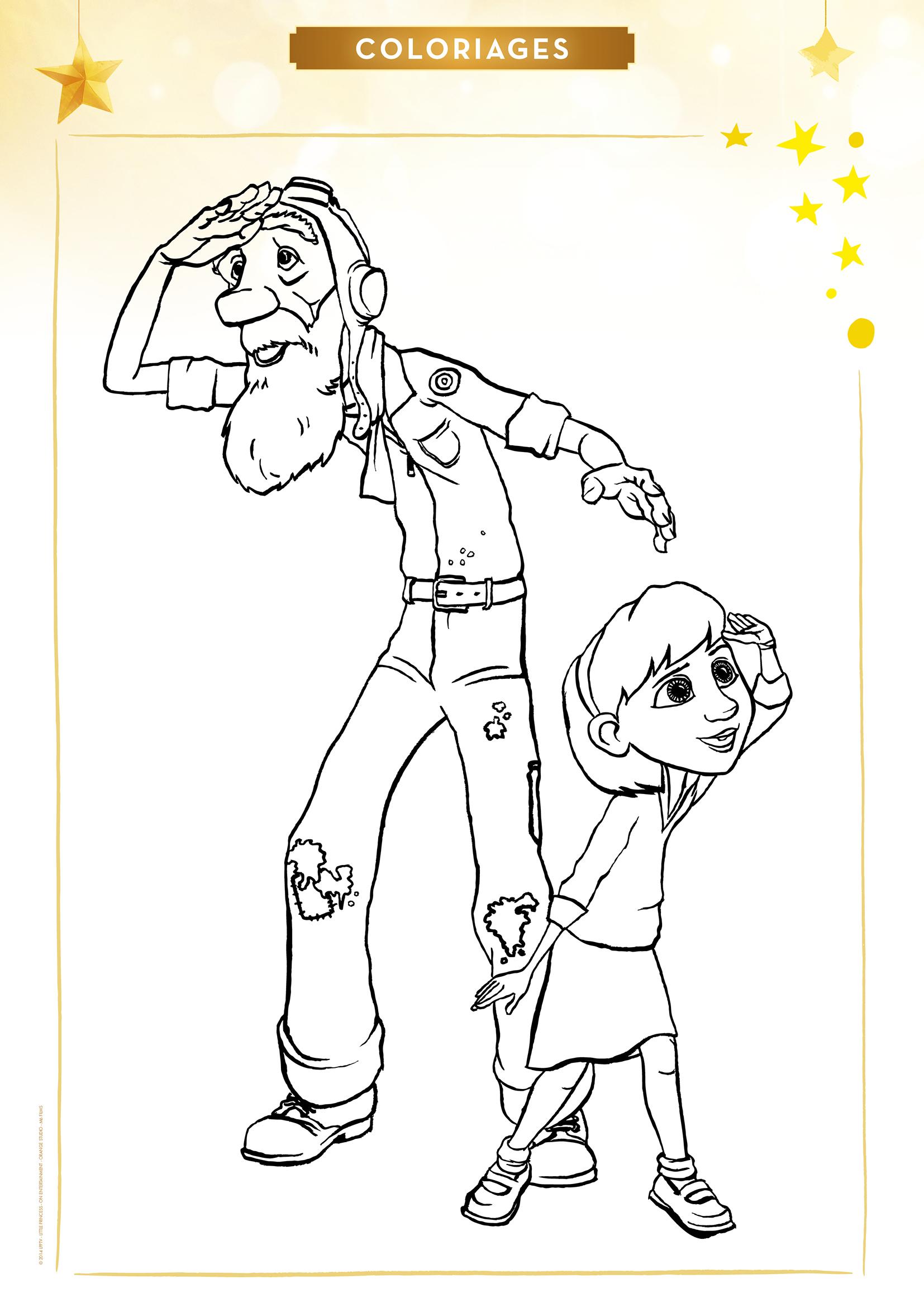 Coloriage L'Aviateur Et La Petite Fille - Momes tout Coloriage Coloriage