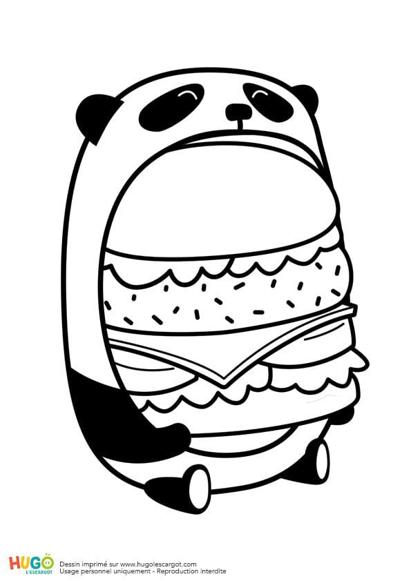 Coloriage Le Burger Du Panda En Mode Kawaii En Ligne intérieur Hugo L Escargot Coloriage En Ligne