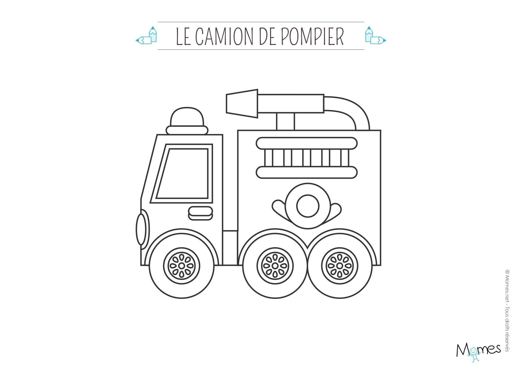 Coloriage Le Camion De Pompier - Momes dedans Dessin Pompier A Imprimer