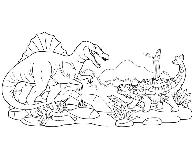 Coloriage : Le Combat Des Dinosaures destiné Coloriage De Dinosaure Gratuit