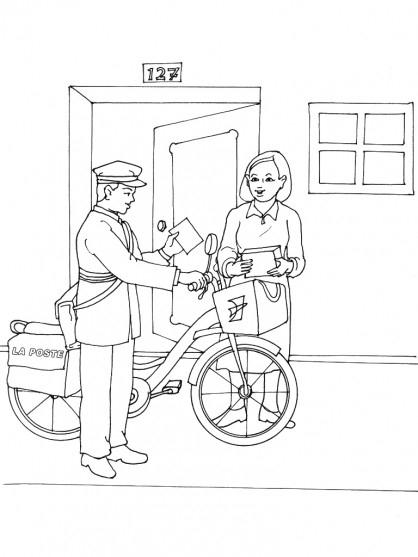 Coloriage Le Facteur À Vélo Livre Le Courrier encequiconcerne Dessin Facteur