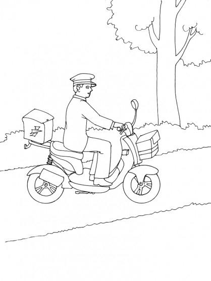 Coloriage Le Facteur Sur Son Vélo Dessin Gratuit À Imprimer destiné Dessin Facteur