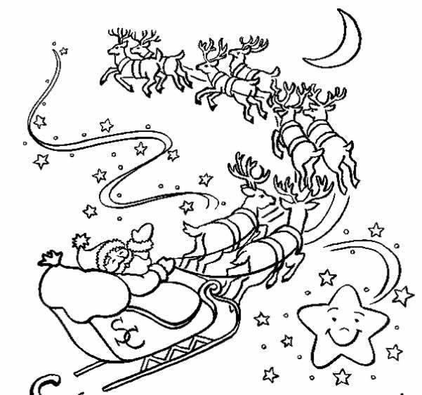 Coloriage Le Traineau Du Père Noël Dessin Gratuit À Imprimer tout Dessin De Rennes Du Pere Noel