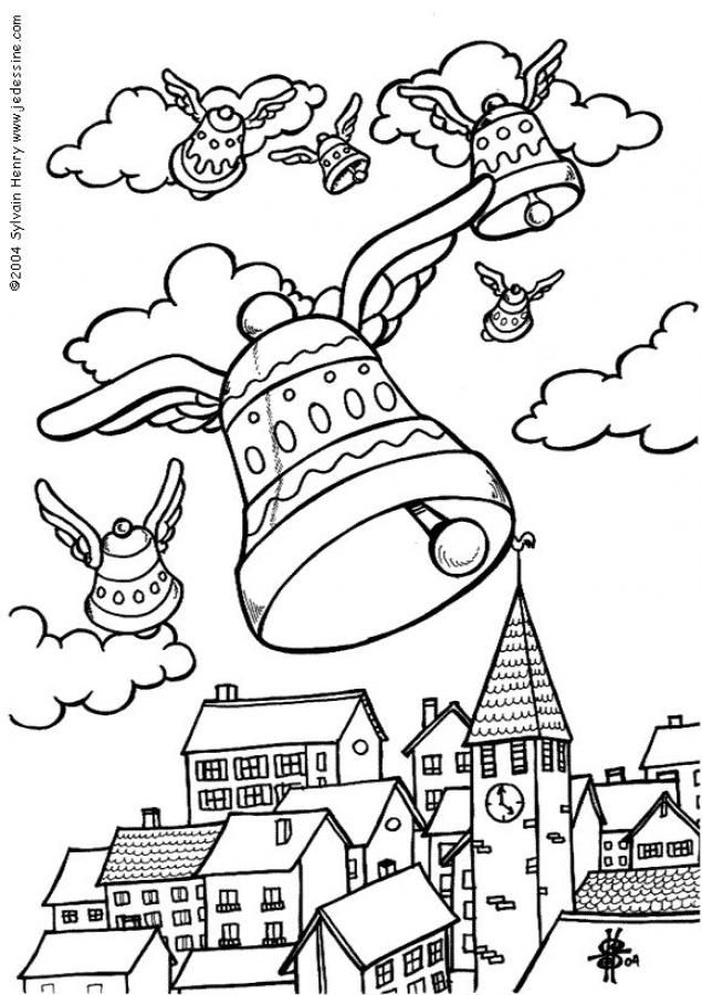 Coloriage : Les Cloches De Pâques | Coloriage Paques dedans Dessin De Paque