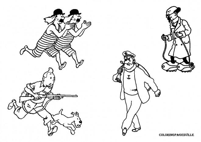 Coloriage Les Personnages De Tintin Dessin Gratuit À Imprimer pour Coloriage Tintin Et Milou