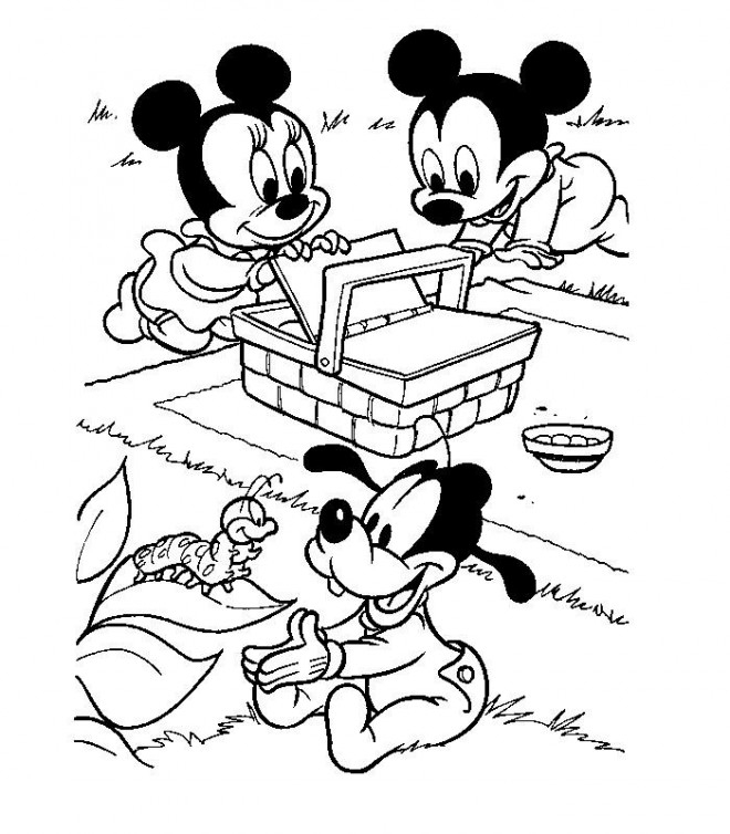 Coloriage Les Petits Mickey, Minnie Et Pluto En Picnic à Dessin À Colorier Mickey