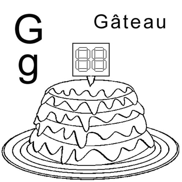 Coloriage Lettre G Comme Gâteau En Ligne Gratuit À Imprimer pour Dessin Sur Gateau