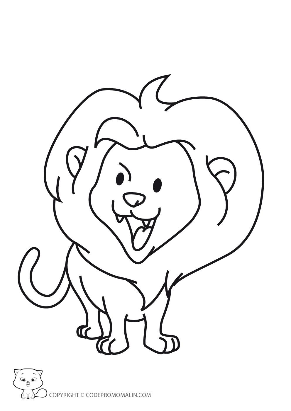 Coloriage Lion Et Rat tout Lion Dessin Enfant