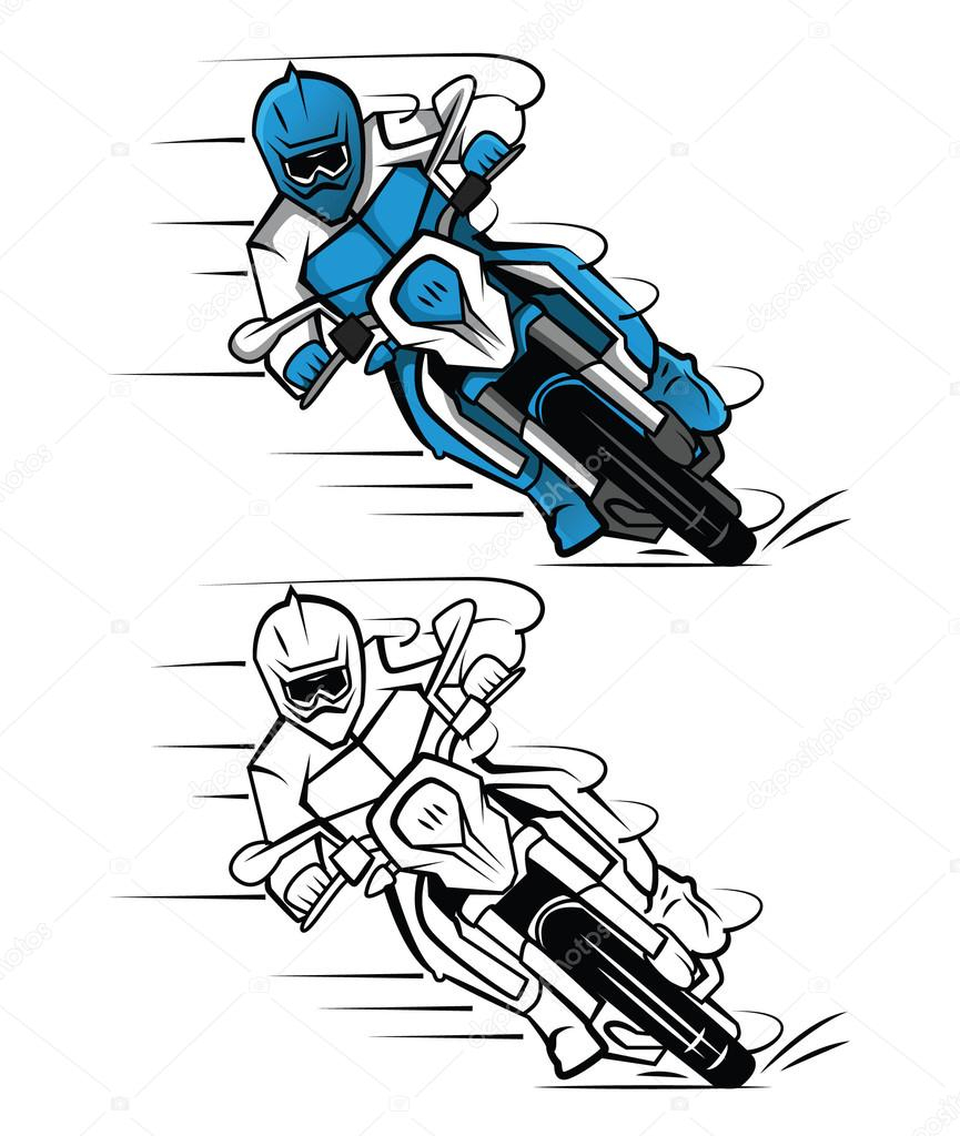 Coloriage Livre Moto Cross Personnage De Dessin Animé dedans Coloriage De Moto Cross