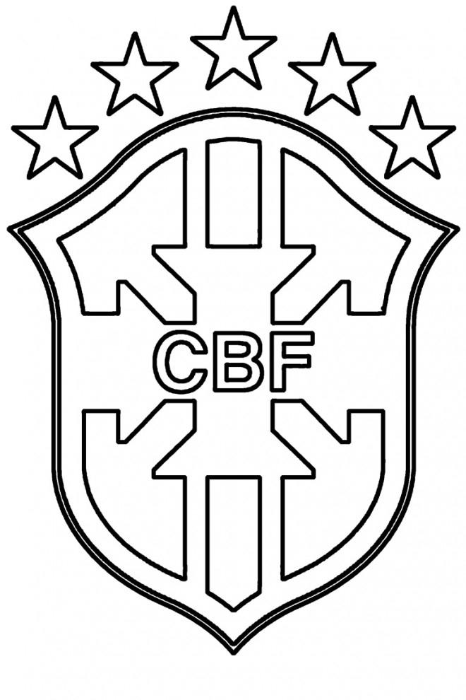 Coloriage Logo De Brésil Football Dessin Gratuit À Imprimer avec Ecusson Des Equipes De Foot