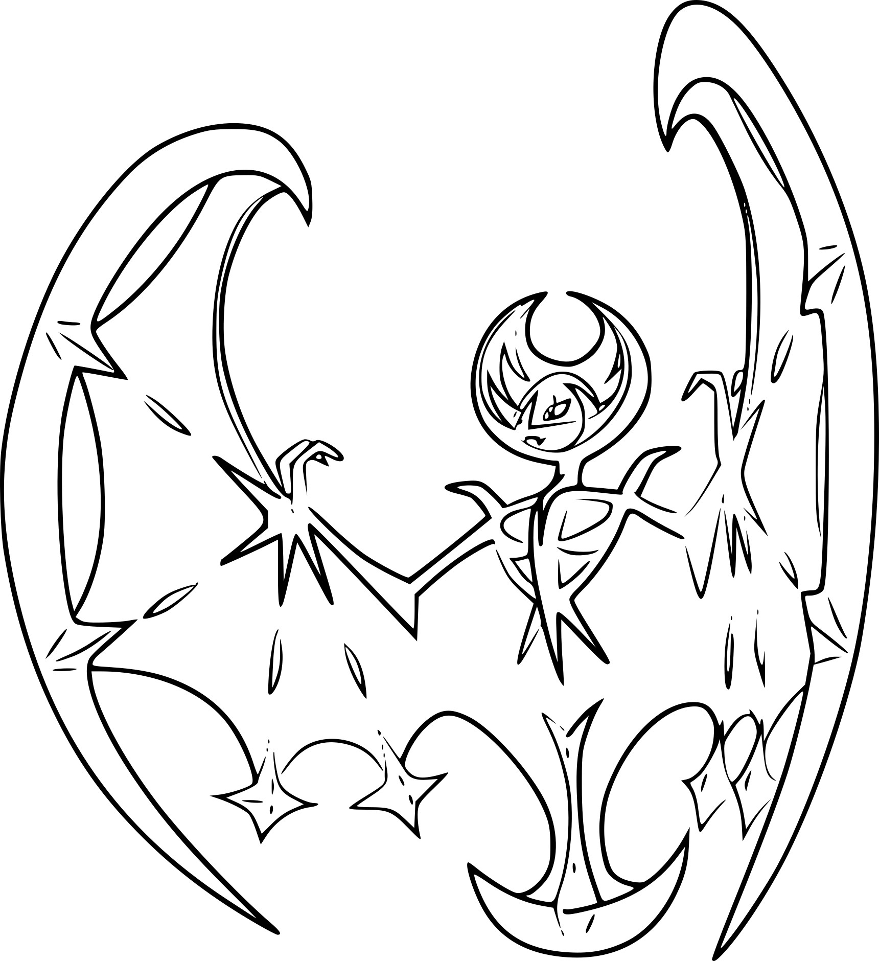 Coloriage Lunala Pokemon Légendaire À Imprimer serapportantà Coloriage De Pokemon A Imprimer