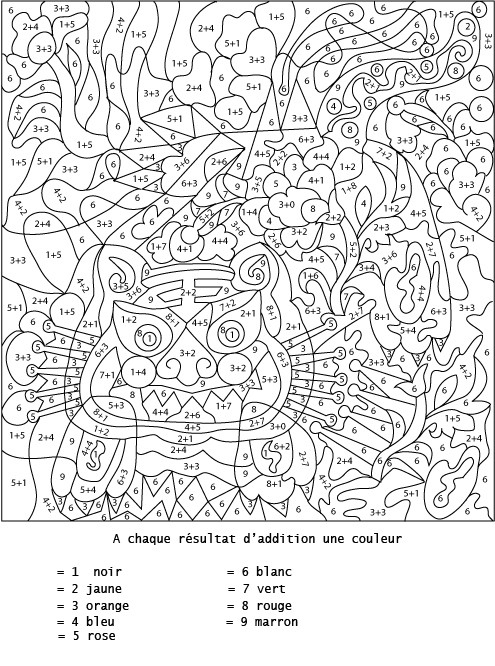 Coloriage Magique Addition Difficile Dessin Gratuit À Imprimer intérieur Coloriages Numérotés À Imprimer