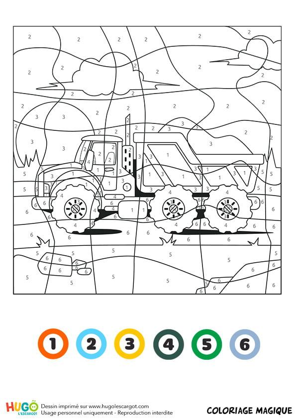 Coloriage Magique Ce1 : Un Camion-Benne intérieur Coloriage Camion A Imprimer